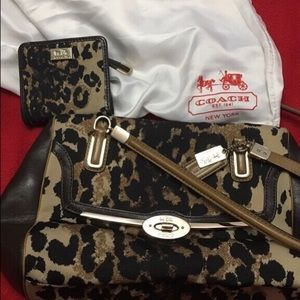 Coach leopard crossbody with matching wallet